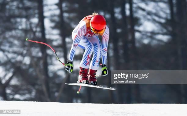 22 February 2018 South Korea Pyeongchang Olympics Alpine Skiing combination women's downhill Jeongseon Alpine Centre Mikaela Shiffrin from the USA in...