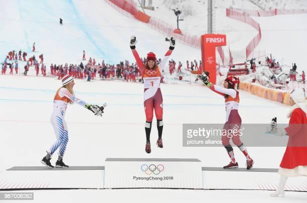 22 February 2018 South Korea Pyeongchang Olympics Alpine Skiing combination women's downhill Jeongseon Alpine Centre Mikaela Shiffrin from the USA...