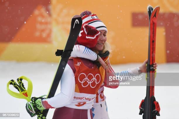 22 February 2018 South Korea Pyeongchang Olympics Alpine Skiing combination women's slalom Jeongseon Alpine Centre Mikaela Shiffrin from the USA hugs...