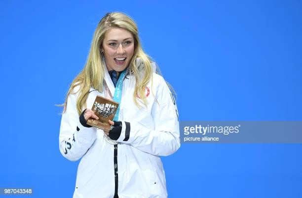 22 February 2018 South Korea Pyeongchang Olympics Alpine Skiing combination women's slalom award ceremony Medal Plaza Mikaela Shiffrin from the USA...