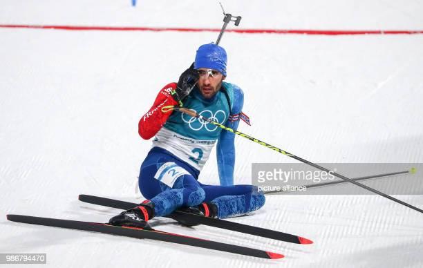 18 February 2018 South Korea Pyeongchang Olympics Biathlon Mass start men Alpensia Biathlon Centre French biathlete Martin Fourcade after crossing...