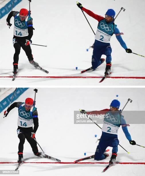 February 2018 South Korea Pyeongchang Olympics Biathlon Mass start men Alpensia Biathlon Centre Simon Schempp from Germany and Martin Fourcade from...