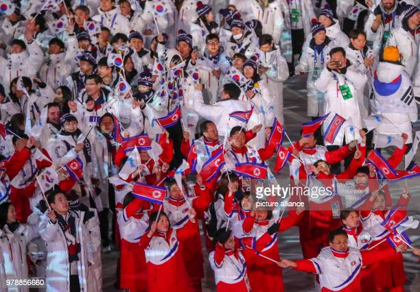 25 February 2018 South Korea Pyeongchang Olympics Closing Ceremony Olympic Stadium The teams of North and South Korea enter the stadium seperately...