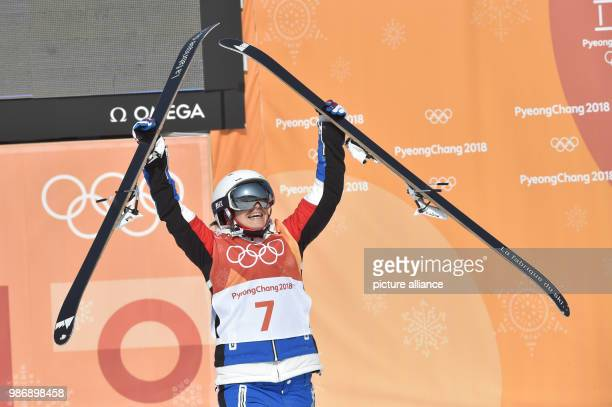 20 February 2018 South Korea Pyeongchang Olympics Freestyle Skiing Halfpipe women Bokwang Phoenix Snow Park Marie Martinod from France celebrates...
