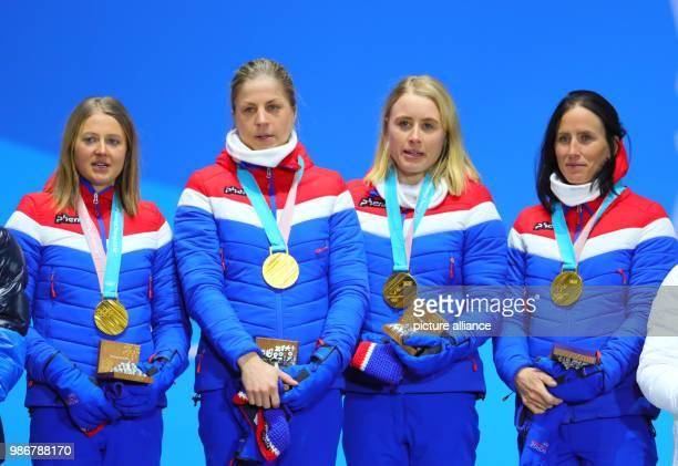 18 February 2018 South Korea Pyeongchang Olympics Nordic Skiing 4x5 km relay womens award ceremony medal plaza Ingvild Flugstad Oestberg Astrid...
