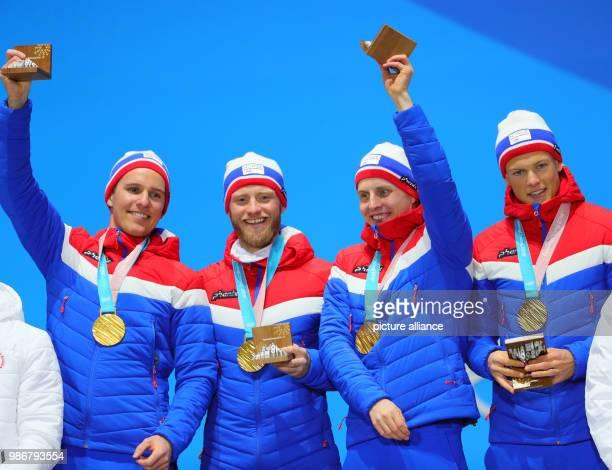 18 February 2018 South Korea Pyeongchang Olympics Nordic Skiing mens 4x10 km relay award ceremony medal plaza Didrik Toenseth Martin Johnsrud Sundby...