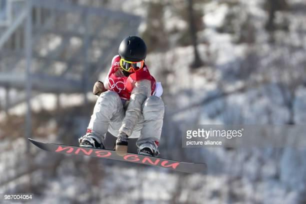 February 2018, South Korea, Pyeongchang, Olympics, Snowboard big air, womens, finals, Alpensia Ski Jump Centre: Jamie Anderson from the USAin...