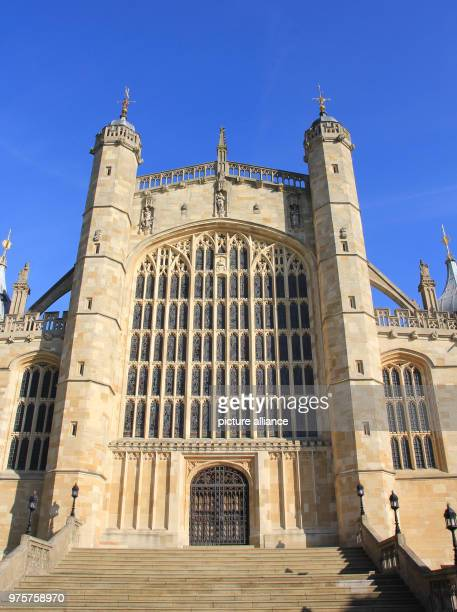 The main entrance to St George's Chapel where Prince Harry and Meghan Markle are set to marry on 19 May 2018 The late Gothic chapel is located in the...