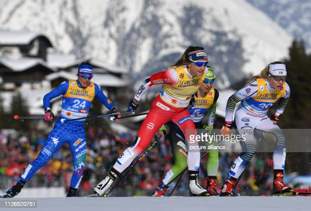 Nordic skiing world championship crosscountry sprint freestyle ladies races decisions quarter finals Elisa Brocard from Italy Maiken Caspersen Falla...