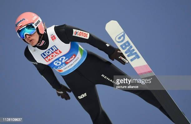 Nordic skiing world championship ski jumping normal hill men qualification Dawid Kubacki from Poland jumps off the hill Photo Hendrik...