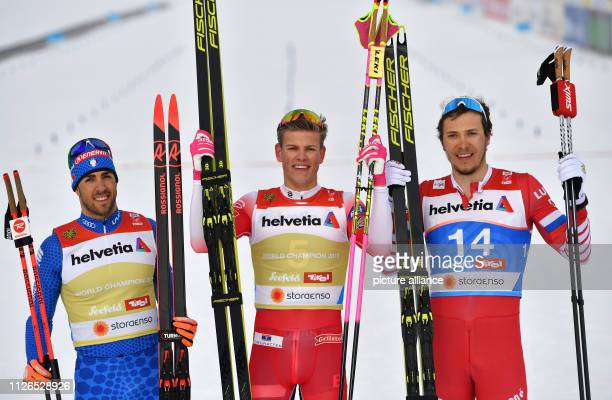 Nordic skiing World Championships crosscountry sprint freestyle men's final decisions Winner Johannes Hoesflot Klaebo from Norway cheers on second...