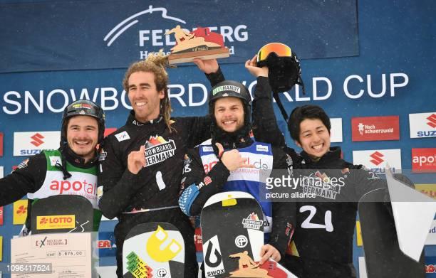 09 February 2019 BadenWuerttemberg Feldberg Im Schwarzwald Snowboard Cross World Cup on the Feldberg in the Black Forest Second placed Paul Berg from...