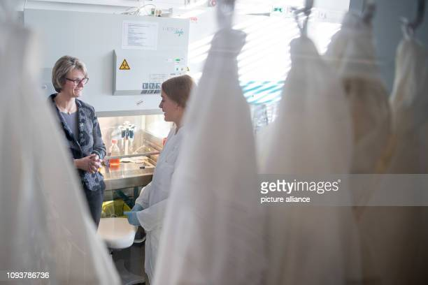 04 February 2019 BadenWuerttemberg Heidelberg Anja Karliczek Federal Minister of Education and Research speaks with a colleague during the first...