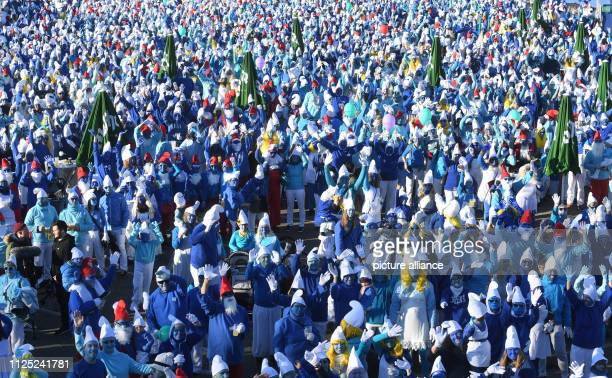 16 February 2019 BadenWuerttemberg Lauchringen At a world record for the biggest smurf meeting in the world participants dressed as smurfs come...