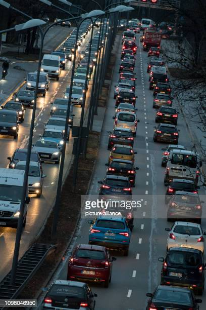 Cars stand on the Munich Ring in both directions close to each other in the evening traffic jam According to a study Munich drivers have been stuck...