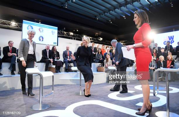 Christine Lagarde head of the International Monetary Fund and Ivanka Trump daughter of the US president Lindsey Graham US senator and Morgan Ortagus...