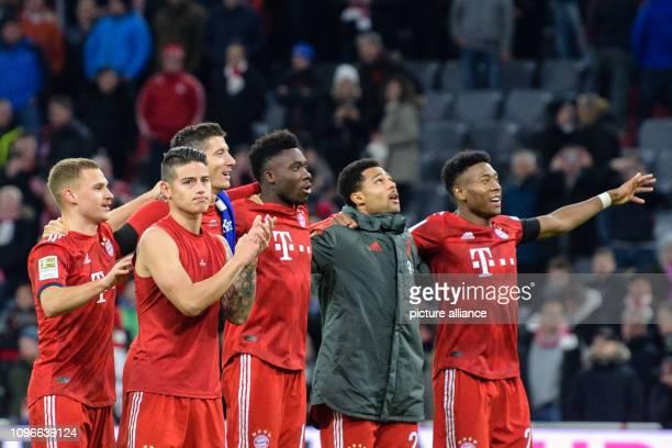 Soccer Bundesliga Bayern Munich FC Schalke 04 21st matchday in the Allianz Arena Joshua Kimmich James Rodriguez Robert Lewandowski Alphonso Davies...
