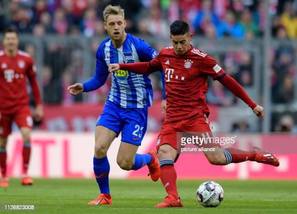 Soccer Bundesliga Bayern Munich Hertha BSC 23rd matchday in the Allianz Arena Arne Maier of Hertha and James Rodriguez of FC Bayern Munich in the...