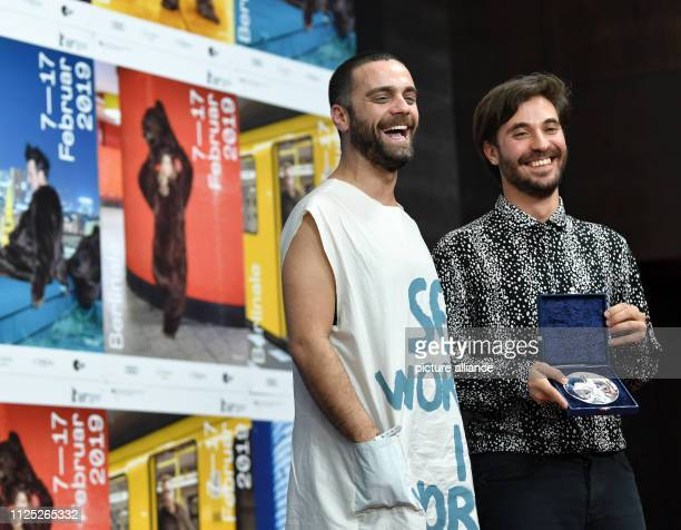 69th Berlinale Closing and award ceremony of the bears in the Berlinale Palast press conference Silver Bear Best Short Film 'Blue Boy' Manuel...