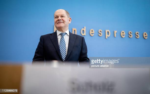 Olaf Scholz Federal Minister of Finance comes to the Federal Press Conference to present the bill against illegal employment and social benefit abuse...