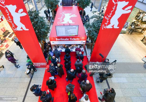 February 2019, Berlin: People wait to buy tickets for the Berlinale Film Festival. The International Film Festival will kick-off on February 7th....