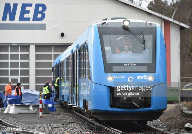The Coradia iLint the world's first hydrogen multipleunit train for the regional traffic of the French train manufacturer Alstom stands at the...