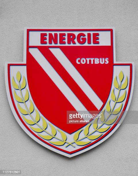 February 2019, Brandenburg, Cottbus: The logo of the 1st FC Energie Cottbus. In the afternoon, a joint press conference with the Cottbus Head of...