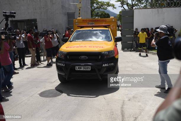 February 2019, Brazil, Rio De Janeiro: A civil defence car drives out of the training centre of the youth team of the Brazilian football club...