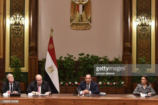 German Economic Affairs and Energy Minister Peter Altmaier meets with Egyptian President Abdel Fattah alSisi at the Presidential Palace Altmaier is...