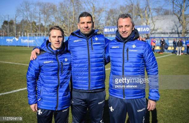 The new trainer team of the lilies with Sven Thur assistant trainer Dimitrios Grammozis head trainer and Iraklis Metaxas assistant trainer stand...