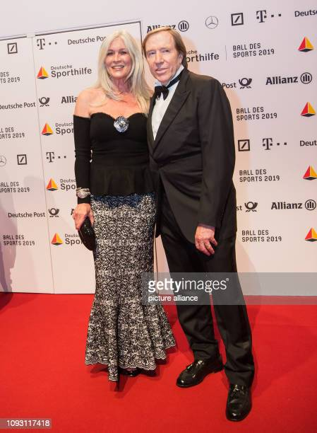 Elvira Lang Netzer and Günter Netzer former national football player are standing in front of the sponsor wall The 49th Ball des Sports with 1800...