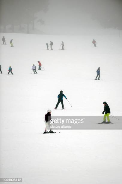 07 February 2019 Lower Saxony Braunlage Skiers go down the witch ride in fog In the Harz in the region around the Brocken it will remain foggy and...