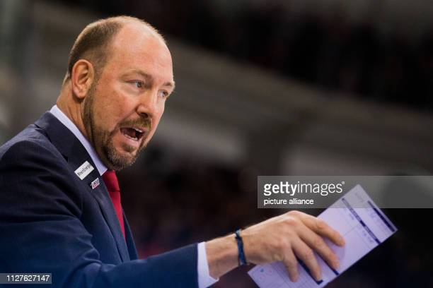 26 February 2019 North RhineWestphalia Düsseldorf Ice hockey DEL Düsseldorfer EG Kölner Haie main round 38th matchday in the ISS Dome Cologne coach...
