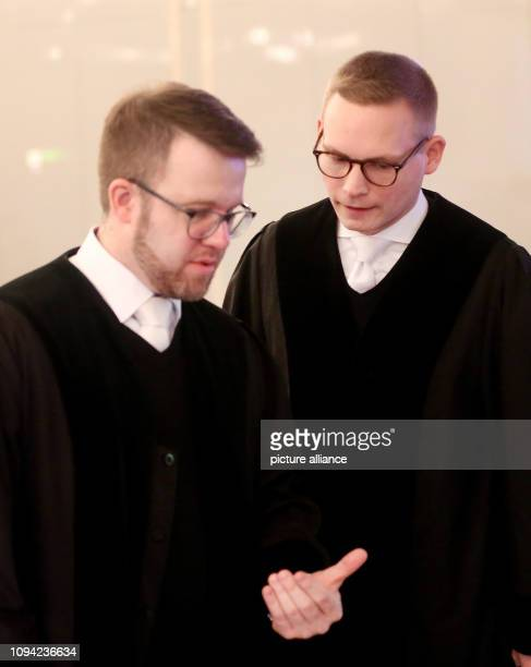 06 February 2019 North RhineWestphalia Düsseldorf Prosecutors Jens Hartung and Christian Seiffge talk before the Loveparade trial On July 24 21 young...