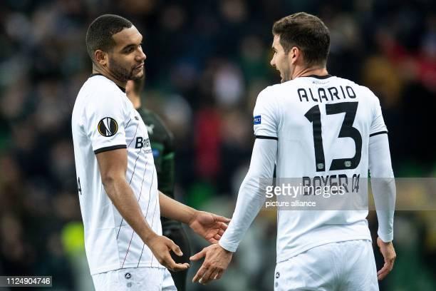 Soccer Europa League FK Krasnodar Bayer Leverkusen knockout round intermediate round first legs Leverkusen's Jonathan Tah and Lucas Alario stand...