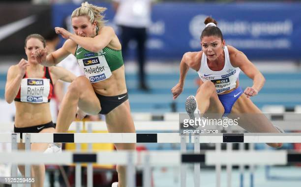Athletics German Indoor Championships in the Arena Leipzig Final 60m hurdles women Pamela Dutkiewicz wins ahead of Cindy Roleder Photo Jan...