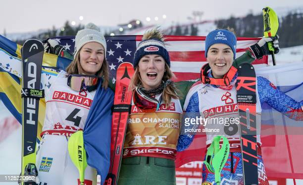 Alpine skiing world championship slalom ladies Anna SwennLarsson from Sweden in second place winner Mikaela Shiffrin from the USA and Petra Vlhova...