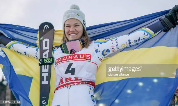 Alpine skiing world championship slalom ladies Anna SwennLarsson from Sweden is the runnerup at the award ceremony and will fly the Swedish flag...