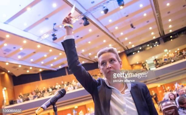 February 2020, Baden-Wuerttemberg, Böblingen: Alice Weidel, Chairwoman of the AfD parliamentary group in the Bundestag, holds her voting card up at...