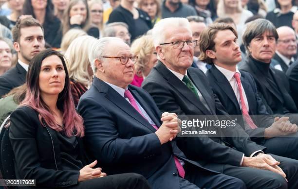 February 2020, Baden-Wuerttemberg, Offenburg: Elisabeth Burda , publisher Hubert Burda and Winfried Kretschmann, Minister President of...