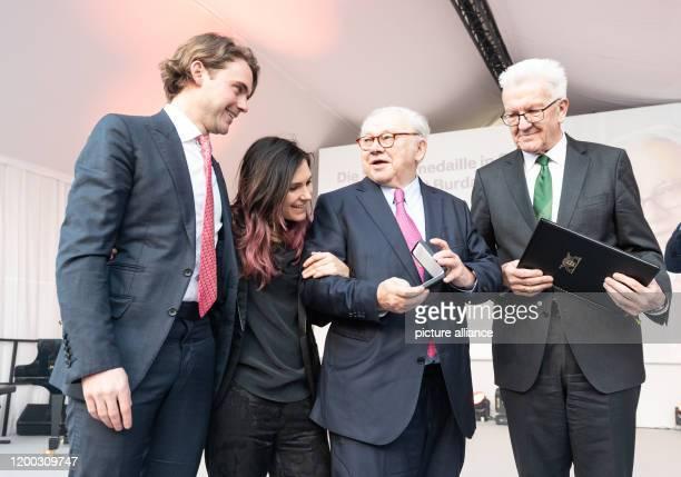 February 2020, Baden-Wuerttemberg, Offenburg: Jacob Burda, Elisabeth Burda, publisher Hubert Burda and Winfried Kretschmann, Prime Minister of...