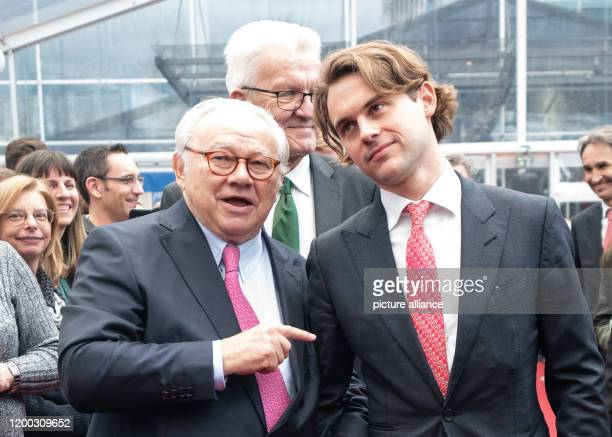 February 2020, Baden-Wuerttemberg, Offenburg: Publisher Hubert Burda , his son Jacob Burda and Winfried Kretschmann, Minister President of...