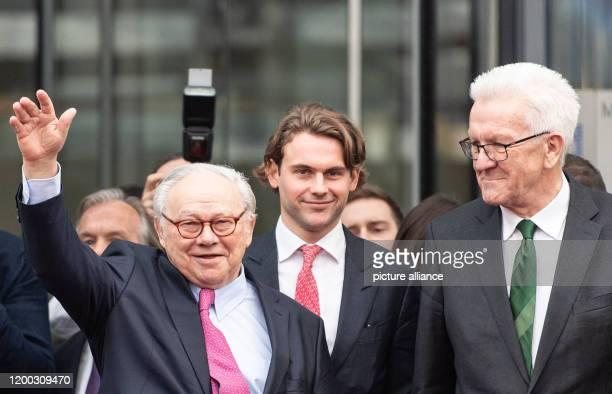 February 2020, Baden-Wuerttemberg, Offenburg: Publishers Hubert Burda, Jacob Burda and Winfried Kretschmann, Minister President of Baden-Württemberg...