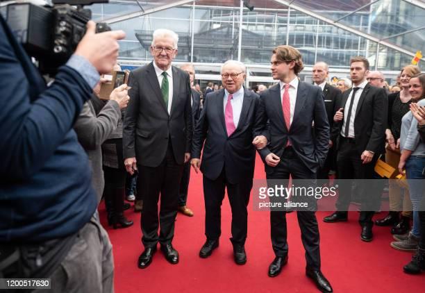 February 2020, Baden-Wuerttemberg, Offenburg: Winfried Kretschmann , Minister President of Baden-Württemberg , publishers Hubert Burda and Jacob...