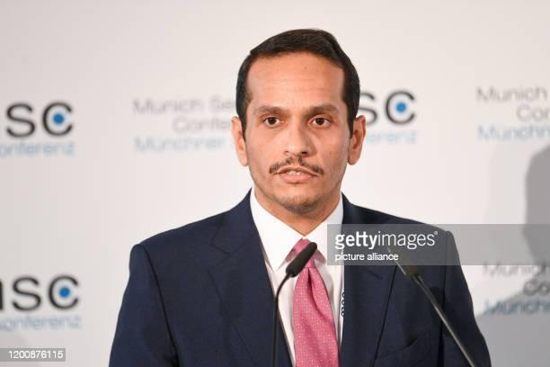 February 2020, Bavaria, Munich: Sheik Mohammed bin Abdulrahman Al Thani, Foreign Minister of Qatar, speaks on the second day of the 56th Munich...