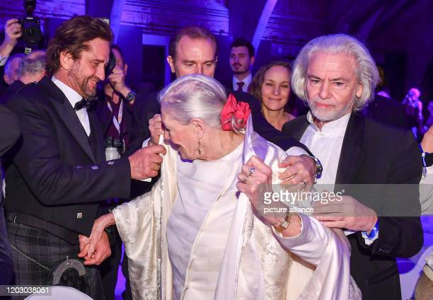 February 2020, Berlin: 70th Berlinale, Cinema for Peace Gala: actor Gerard Butler , director Vanessa Redgrave, Carlo Gabriel Nero, the son of Vanessa...