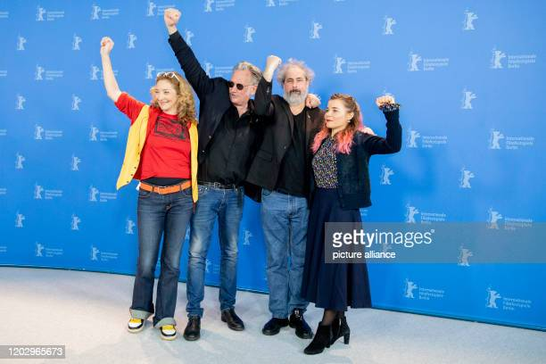 70th Berlinale Photocall Competition Effacer l'historique Corinne Masiero actress Benoit Delepine director and scriptwriter Gustave Kervern director...