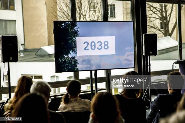 February 2020, Berlin: A teaser about the German contribution to the Venice Biennale 2020 is shown on a screen. The team's contribution to the 17th...