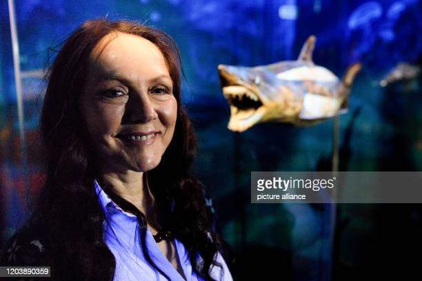 February 2020, Berlin: Angelina Whalley, curator of all Body Worlds exhibitions, is standing next to the showcase of an exhibited shark exhibit of...