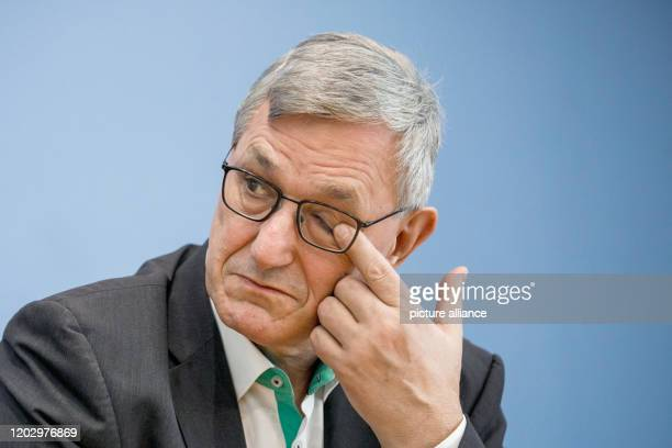 February 2020, Berlin: Bernd Riexinger, party chairman of Die Linke, speaks to journalists at the federal press conference on the election in...
